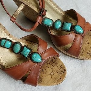 Rampage Shoes - Stunning Turquoise & Brown Cork Wedges